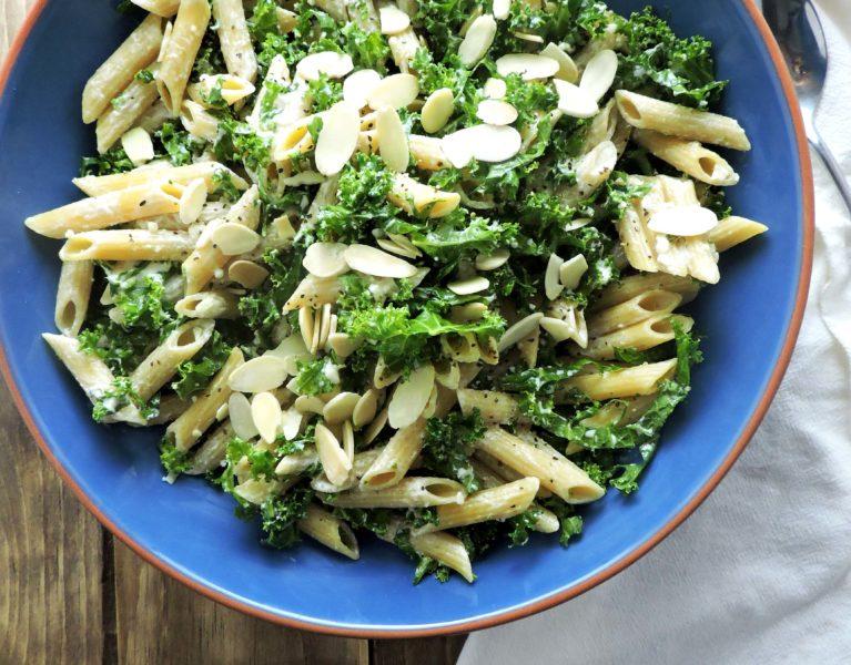 Kale Caesar Pasta Salad
