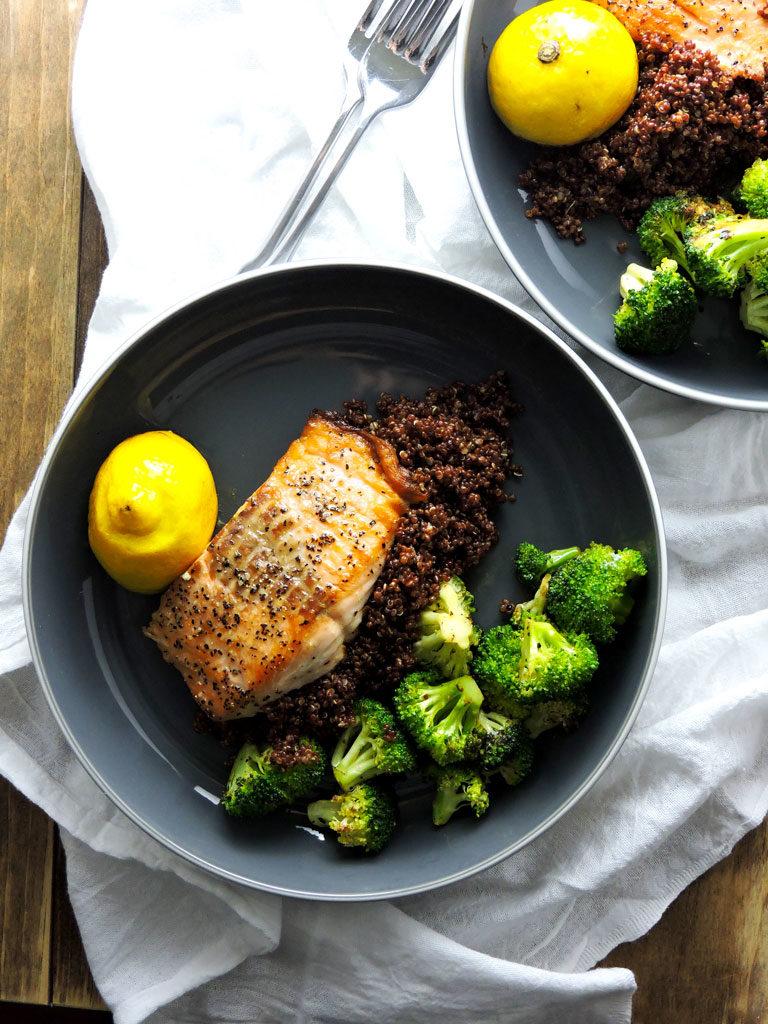 Salmon Quinoa Broccoli Spa Bowl
