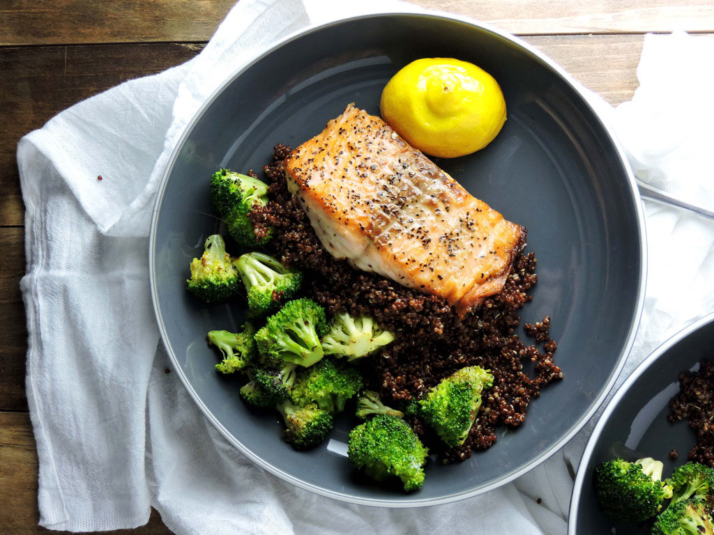 Salmon Quinoa Broccoli Spa Bowl