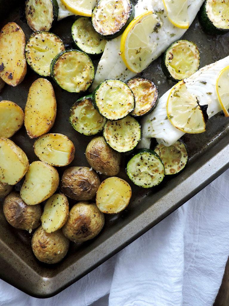 Lemon Garlic Tilapia Sheet Pan Dinner