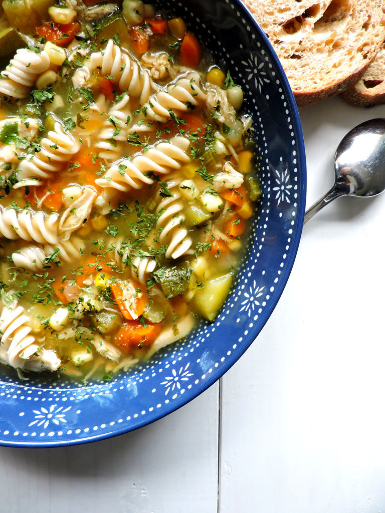 Chicken Noodle Soup with Zucchini and Corn