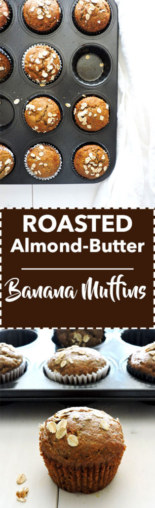 Roasted Almond Butter Banana Muffins - Fresh Fit Kitchen