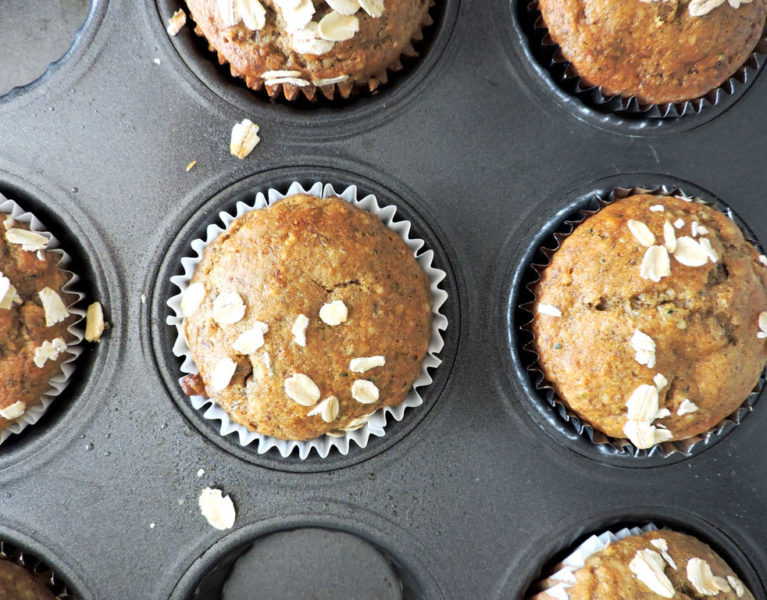 Roasted Almond Butter Banana Muffins