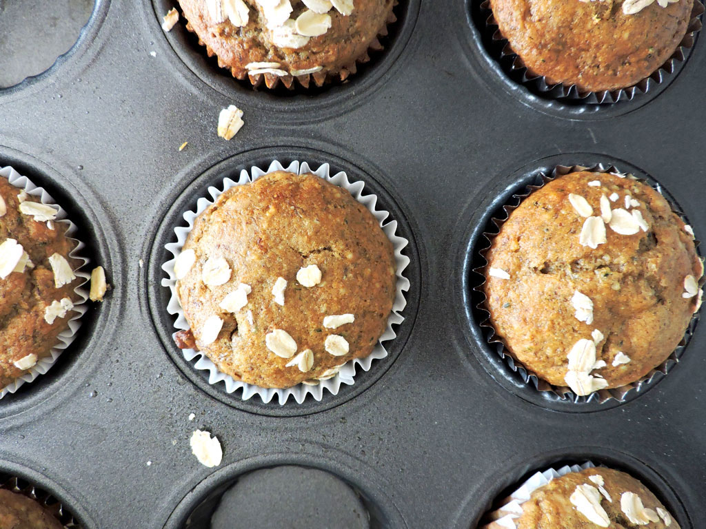 Roasted Almond Butter Banana Muffins Fresh Fit Kitchen