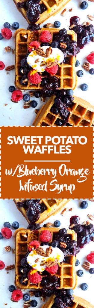 Sweet Potato Waffles with Blueberry Orange Infused Syrup
