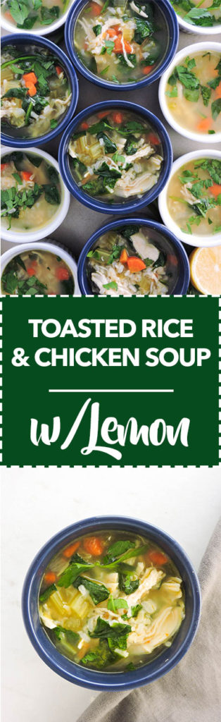 Toasted Rice and Chicken Soup with Lemon