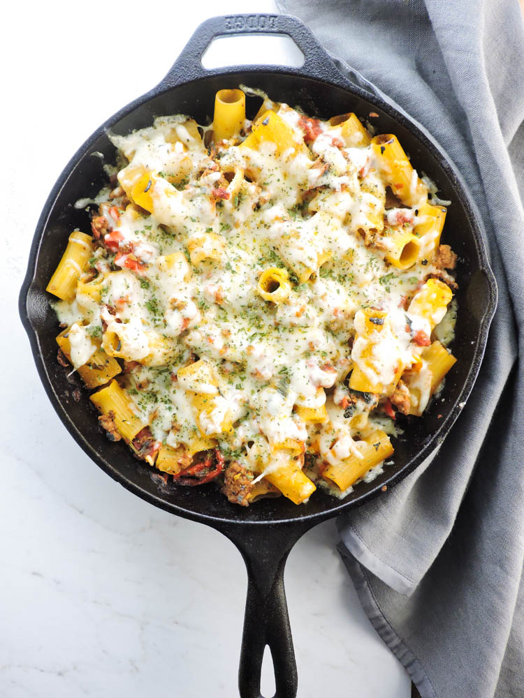 Turkey Sausage Rigatoni with Fire Roasted Tomato Sauce