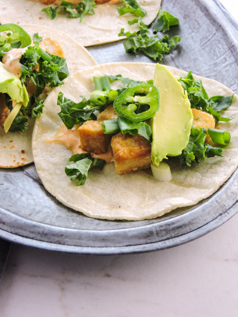 Crispy Tofu Street Tacos with Spicy Chili Sauce