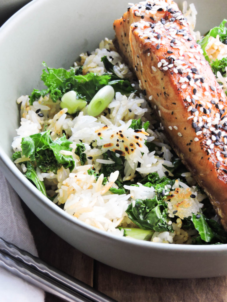 Chili Soy Salmon with Crispy Rice and Kale - Fresh Fit Kitchen